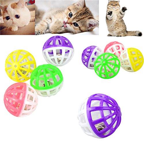 Gatto dell' animale domestico del giocattolo in plastica Ball Giocare Tinkle Bell della sfera jagt