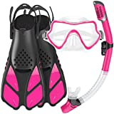 Mifanstech Snorkel Set for Adults, Panoramic View Anti-Fog&Anti-Leak Diving Mask, Dry Top Snorkel, Adjustable Snorkel Fins with Gear Bag, for Snorkeling Swimming Scuba Diving
