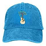 Hoswee Unisex Kappe/Baseballkappe, Tree Acoustic Guitars Denim Hat Adjustable Male Mini Baseball Cap