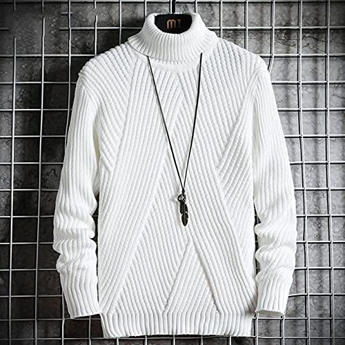 Suéter Invierno Sólido Jersey De Cuello Alto Ropa De Hombre Abrigos De Cuello Alto Suéter De Punto Ropa Coreana XXXL Blanco