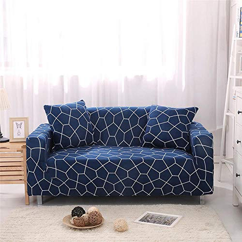 Funda Sofas 2 y 3 Plazas Bloque Irregular Azul Fundas para Sofa con Diseño Elegante Universal,Cubre Sofa Ajustables,Fundas Sofa Elasticas,Funda de Sofa Chaise Longue,Protector Cubierta para So