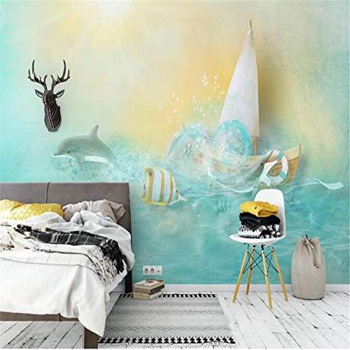Benutzerdefinierte Große Tapete Wandbild Blue Sea Water Dolphin Goldfisch Nordic Sofa Hintergrund Wanddekoration Gemälde-150 * 105Cmwall Background For Baby Children'S Photography,Wedding Birthda