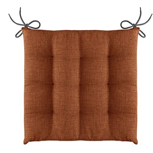 LILENO HOME 1er Set Stuhlkissen Braun (40x40x4,5 cm) - Sitzkissen für Gartenstuhl, Küche oder Esszimmerstuhl - Bequeme UV-beständige Indoor u. Outdoor Stuhlauflage als Stuhl Kissen