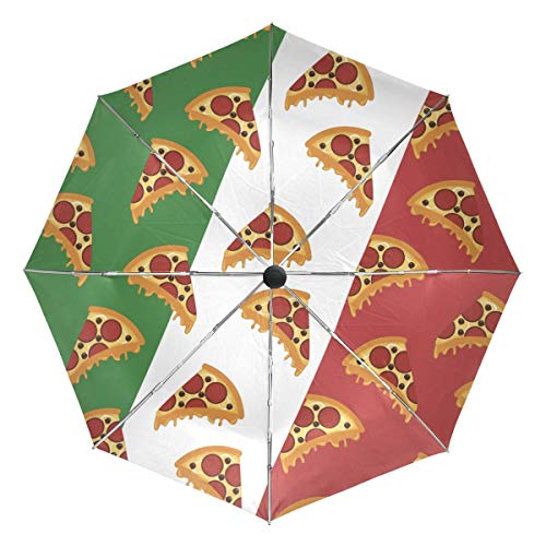VVIEER Small Automatic Pizza Pattern Italy Flag Compact Mini Travel Umbrella 3 Folds Lightweight