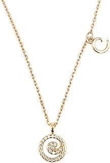 """27 Unique Initial Necklace, Sideways Pendant Plus, Cubic Zirconia Letter Pendant Necklace Gift for Women Girls, 16""""+3"""" Extender"""