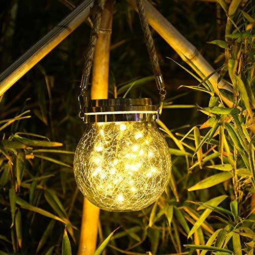 Qedertek Solar Lichterkette Lampion Außen, 2 Stück 30 LED Lichterkette im Glas Solar Lichterkette Aussen Wasserdichte für Garten, Hof, Hochzeit, Party, Tisch Deko (Warmweiß)