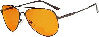 Eyekepper Blue Blocking Glasses for Sleep-Nighttime Eyewear-Special Orange Tinted Memory Frame Bifocal Reading Glasses for Men (Brown, 1.00)
