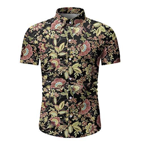 KINGOLDON Men Casual Hawaiian T-Shirt Summer Printed Button Short Sleeve Top Blouse