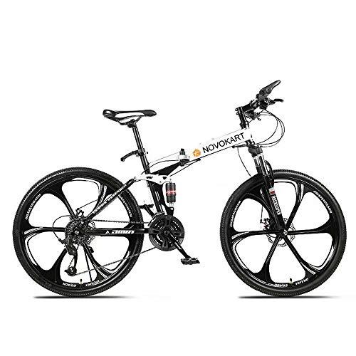 Novokart-Plegable Deportes/Bicicleta de montaña 24/26 Pulgadas 6 Cortador, Blanco