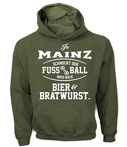 Artdiktat Herren Hoodie - In Mainz schmeckt der Fußball noch nach Bier und Bratwurst Größe M, khaki