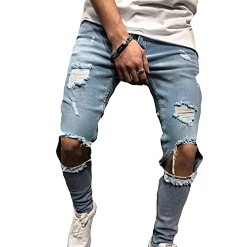 Herren Stretch-Denim Skinny Fit Denim-Hosen Destroyed Ausgefranste Stretch-Zerrissene Knie-Jeans Hellblau S