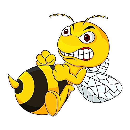 1 Sticker Böse Biene Angry Bee I kfz_510 I 15 x 13 cm groß I Auto-Aufkleber LKW Motorrad Moped Mofa Roller Notebook Laptop I wetterfest
