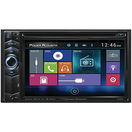 POWER ACOUSTIK PD-624B 6.2' Double-DIN In-Dash LCD Touchscreen DVD Receiver with Bluetooth(R)