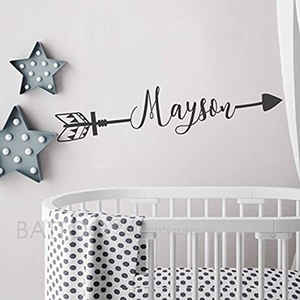 BATTOO Arrow Name Wall Decal Name Decal Boho Nursery Decor Boys Name Decal Kids Room Decor Personalized Name Rustic Crib Decal