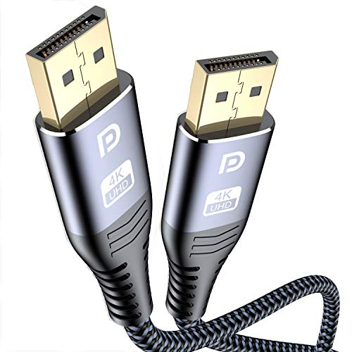 sweguard DisplayPort Kabel 4K 3M DisplayPort auf DisplayPort Kabel, DP zu DP Kabel(4K@60Hz,2K@144Hz) Nylon Geflecht Ultra Highspeed DisplayPort-Kabel für PC,TV,Beamer,Monitor,Grafikkarten(Grau)