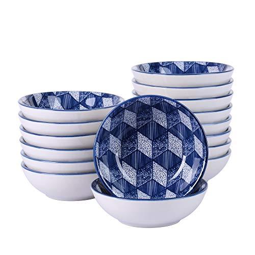 vancasso Aichi Set 16 Pezzi Tapas Vassoi in Porcellana Set di Ciotole Ceramica Combinazione Piattini, Vassoi per Aperitivi e Tapas Fruttiere Insalatiere Colore Blu Scuro