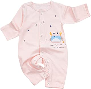 lengima Neugeborenes Baby Strampler einfarbig Baumwolle Cartoon Krabben & Regen Print Baby Overall
