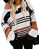 ZESICA Women's Long Sleeve Crew Neck Striped Color Block Casual Loose Knitted Pullover Sweater Tops,Black,Small