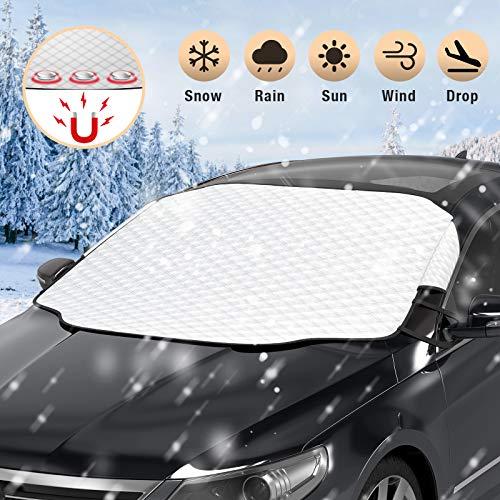 HWeggo Auto Windschutzscheibenabdeckung Sonnenschutz, Schneefrost Staub UV-Schutz Faltbar Abnehmbar Eingebaute magnetische wasserdichte SUV Windschutzscheibe (146 cm x 114 cm)