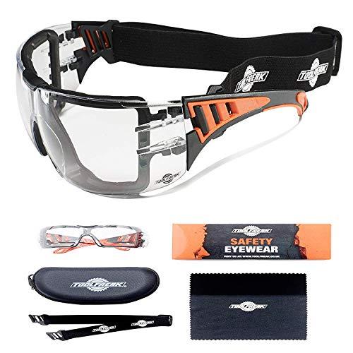Gafas de Protección ToolFreak Con Transparente Lentes y Relleno de Espuma de Estilo Deportivo Para Hombres y Mujeres | Gafas Protectoras con Lentes y Montura Envolvente y Resistente a los Impactos ⭐