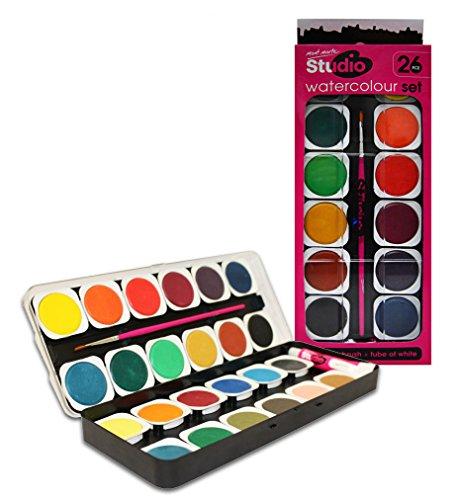 MONT MARTE Acuarelas - 26 piezas - Colores brillantes - Alta pigmentación - Ideal para pintura de Acuarela - Perfecto para Principiantes, Alumnos y Estudiantes