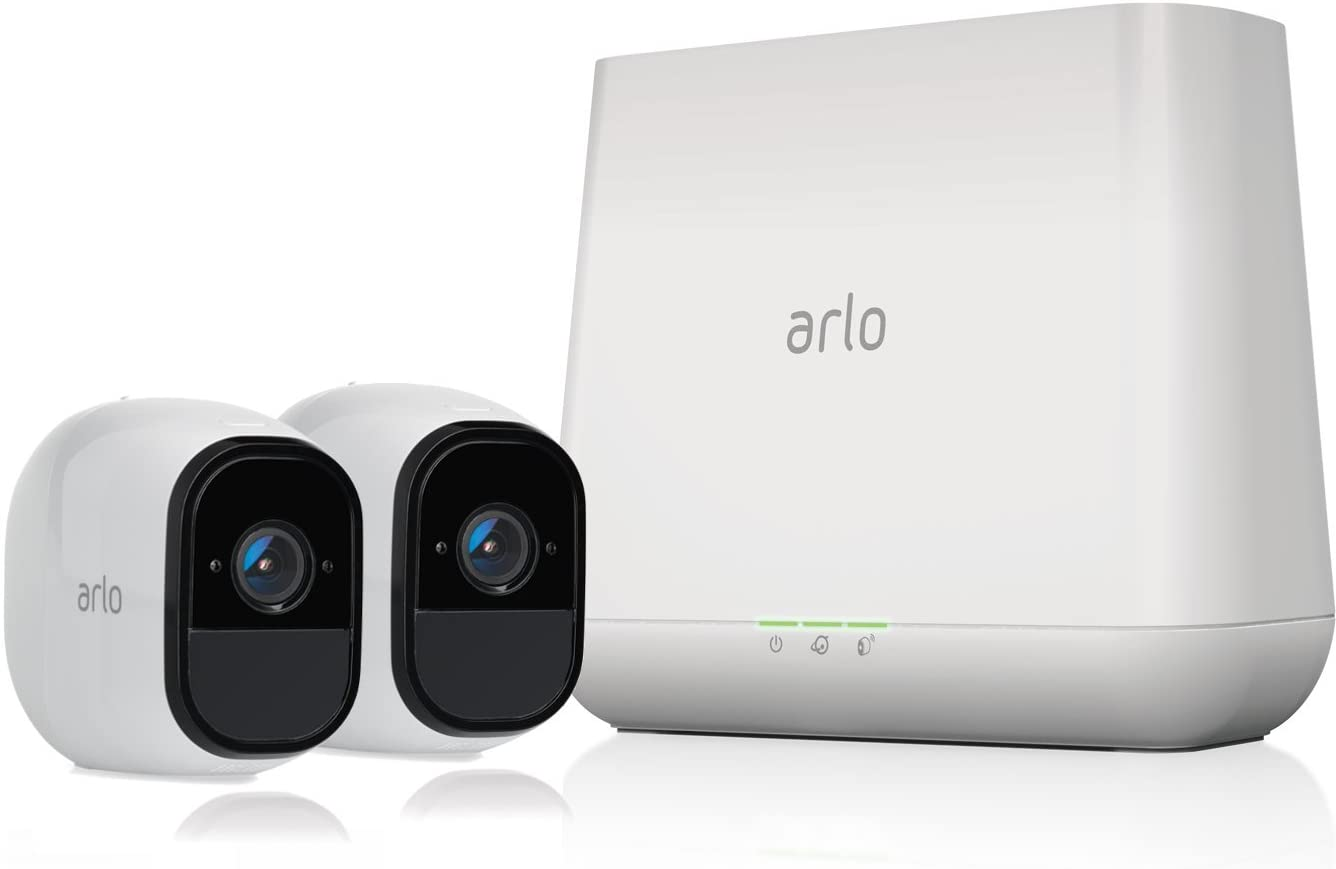 Arlo Pro by NETGEAR Security System with Siren – 2 Rechargeable Wire-Free HD Cameras with Audio   Indoor/Outdoor   Night Vision (VMS4230)