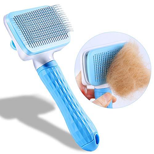 CELIFE ペットブラシ 犬 猫 スリッカーブラシクリーナー グルーミング ワンプッシュで抜け毛除去 針のビーズ デザイン ペットの肌を守る