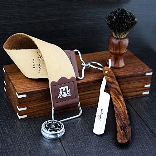 Haryali London Holzbox mit Rasierzubehör (Rasiermesser, Rasierpinsel, Abziehriemen, Schleifpaste) 5-teiliges luxuriöses Set.