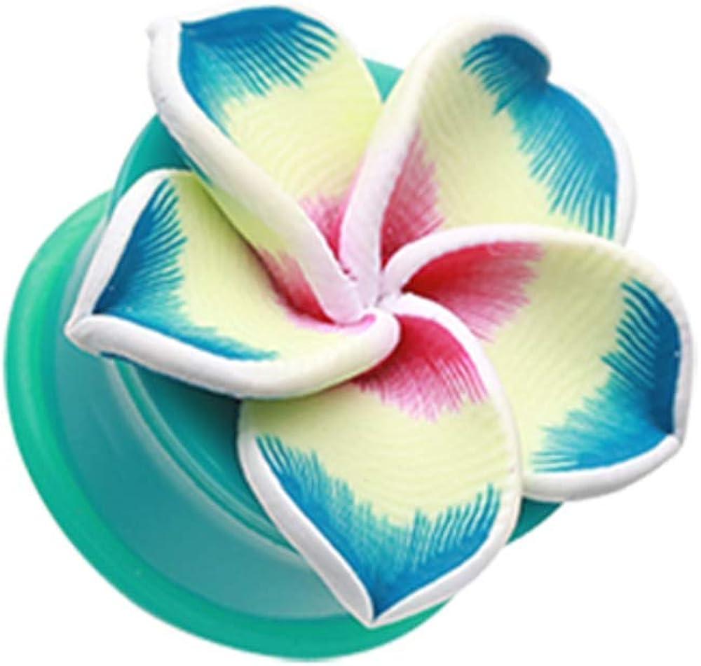 Hawaiian Plumeria Flower Acrylic Ear Gauge WildKlass Plug