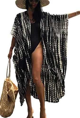 Kimonos for Women Tie dye Long Beach Kimono Cover ups Curve Hem Loose Kimono Robes Light weith Black Kimono Cardigan with Print (732 Black)