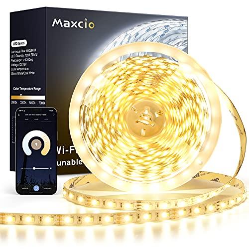 10M Alexa Striscia LED Dimmerabile,Maxcio 6500LM 2835 Striscia LED Wifi funzione con Alexa/Google Home, 2800K-7000K Bianco Caldo Freddo, App/vocale Controllo per Decorazione Interna