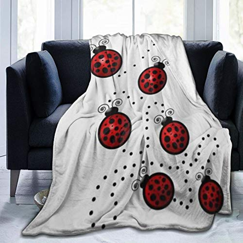 KIMDFACE Flannel Fleece Soft Throw Blanket,Art Ladybug Tracks Spots Speckled,for Settees/Sofa/Chairs/Couch Lightweight,Warm and Cozy(204x153cm)
