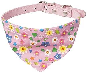 Fleur Imprimé réglable collier bandana pour chien/chat écharpe foulard