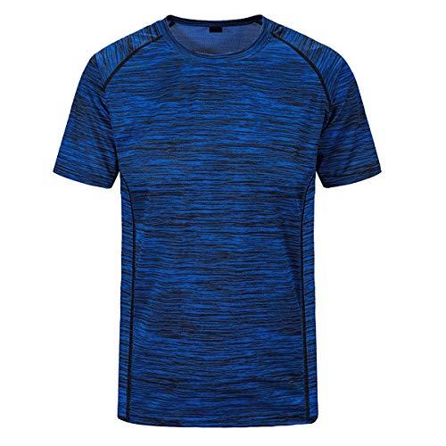 Sidiou Group Schnelltrocknende T-Shirts Herren Training T-Shirt Running Fitnessstudio Outdoor Sport T-Shirts Gym Fitness T-Shirt Laufen Tshirt Kurzarm Sportbekleidung (Blau, 6XL)