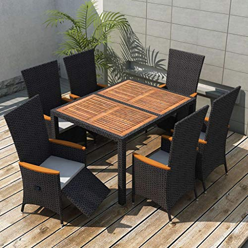 WWZH 7 PCS Outdoor Garden Patio Dining Set w/Wood Table Top, Stackable Chairs with Soft Cushion, Poly Wicker Dining Table and Chairs Set, Black