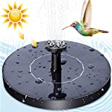 Lachesis Solar Fountain Pump, New Upgraded Mini Solar Powered Bird Bath Fountain Pump Solar Panel Kit Water Pump with 4 Different Spray Pattern Heads, for Pond, Pool, Garden, Fish Tank, Aquarium