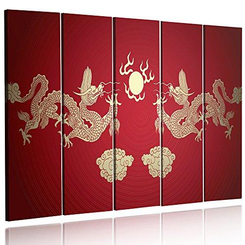 Feeby Frames, Cuadro en Lienzo - 5 Partes - Cuadro impresión, Cuadro decoración, Canvas (Dragones Chinos, Rojo, Oro) 200x100 cm, Tipo C