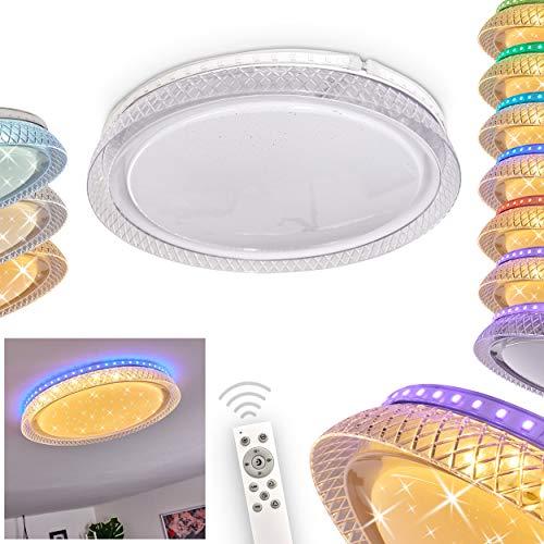 LED Deckenleuchte Fondaco, dimmbare Leuchte aus Kunststoff weiß m. Sternenhimmel-Effekt, runde Deckenlampe m. Fernbedienung u. RGB Farbwechsler, 1 x LED 18 Watt, 2700-6500 Kelvin, max. 2000 Lumen