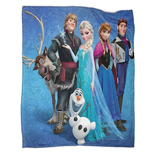 STTYE Frozen Family Elsa And Anna Princess Olaf Kristoff Hans Sven Adecuado para sofá silla, sofá y mantas de cama para sofá de cama de 130 x 180 cm