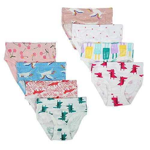 Kidear Kidear Unterwäsche für Kinder, weiche Baumwolle, verschiedene Muster für Mädchen, 8 Stück Gr. 5-6 Jahre, stil 3