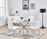SICOTAS Round Dining Table Set,Modern Kitchen Table and White Chairs,Dining Room Table Set with Clear Tempered Glass Top, Dining Set for Dining Room Kitchen Furniture (Table + 4 White Chairs)