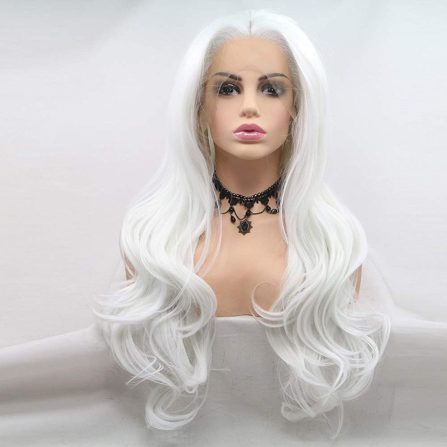 セクションスリチンモイレパートリーZXF かつら女性化学繊維フロントレースヘッドギアかつらヨーロッパとアメリカのビッグウェーブホワイト卸売 美しい
