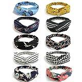 LADES Damen Stirnbänder - 10/6/4 Sätze Stirnbänder Frauen Vintage Blumendruck Headwrap Twist...