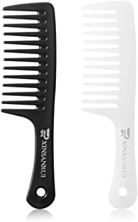 XINSANRUI Wide Tooth Comb for Curly Hair,Large Detangler Comb for Long Hair,Wet Hair(white +black)