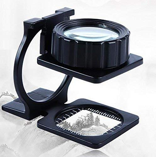 Handheld Magnifier 20x Optical All-Metal Folding high Definition Optical Magnifier Lens Cloth Reading Multipurpose Personal Magnifier