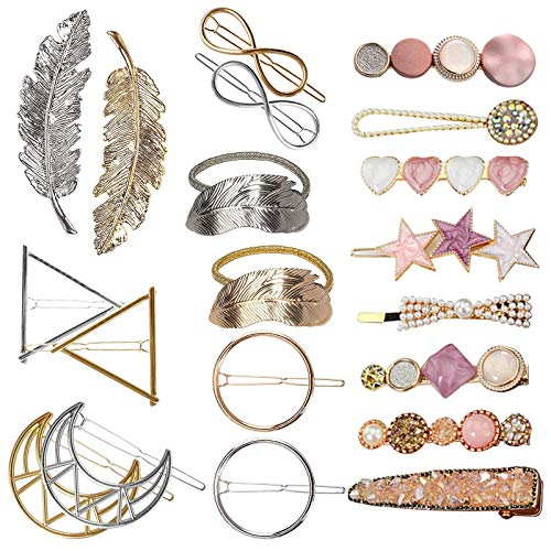 VEGCOO 20 Piezas Clips de Pelo, Gomas Pelo Elastica Pinzas Pelo de Diamantes de Imitación, Horquilla de Metal, Accesorios de Pelo para Mujer Chica y Niña