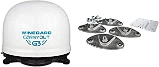 Winegard GM-9000 Carryout G3 Portable Automatic Satellite Antenna with Dish Playmaker Roof Mount Kit