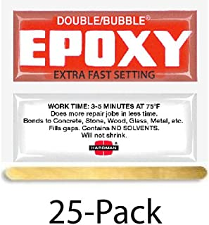 Hardman Double Bubble Red Extra Fast Epoxy (3-5 minutes), 25 Packs