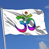 Zikely Dekoratives Banner Aum Om Ohm 3x5 Foot Flags Outdoor Flag 100% Single-Layer Translucent Polyester 3x5 Ft