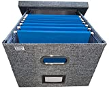 Collapsible File Box Storage Organizer with lid - Decorative Linen Hanging File Box with Handles - Letter/Legal Office File Storage Box - Metal brackets for Easier Document Storage - Gray